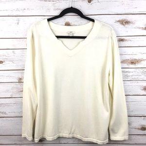J. Jill Ivory v Neck sweater pullover Solid